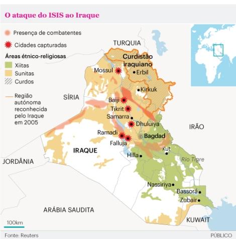 Apesar das ações do governo de Jalal Talabani, o EIIL continua seus avanços sobre o Iraque.  Crédito: Reuters