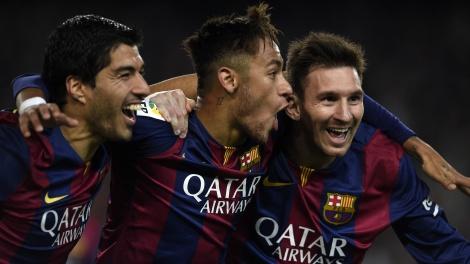 Juntos, Messi, Suárez e Neymar marcaram mais de 100 gols juntos na temporada passada (Foto: Getty Images)