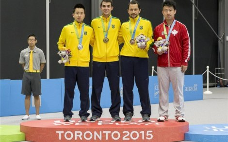 O tênis de mesa brasileiro conseguiu formar um pódio com três brasileiros. Destaque para o ouro de Hugo Calderano. (Foto: Divulgação/ITTF)