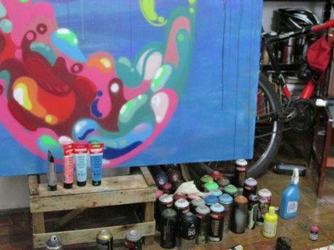 A composição da imagem do Graffiti é feita com diversos materiais, que aplicam diferentes efeitos à figura (Foto: Marina Debrino)